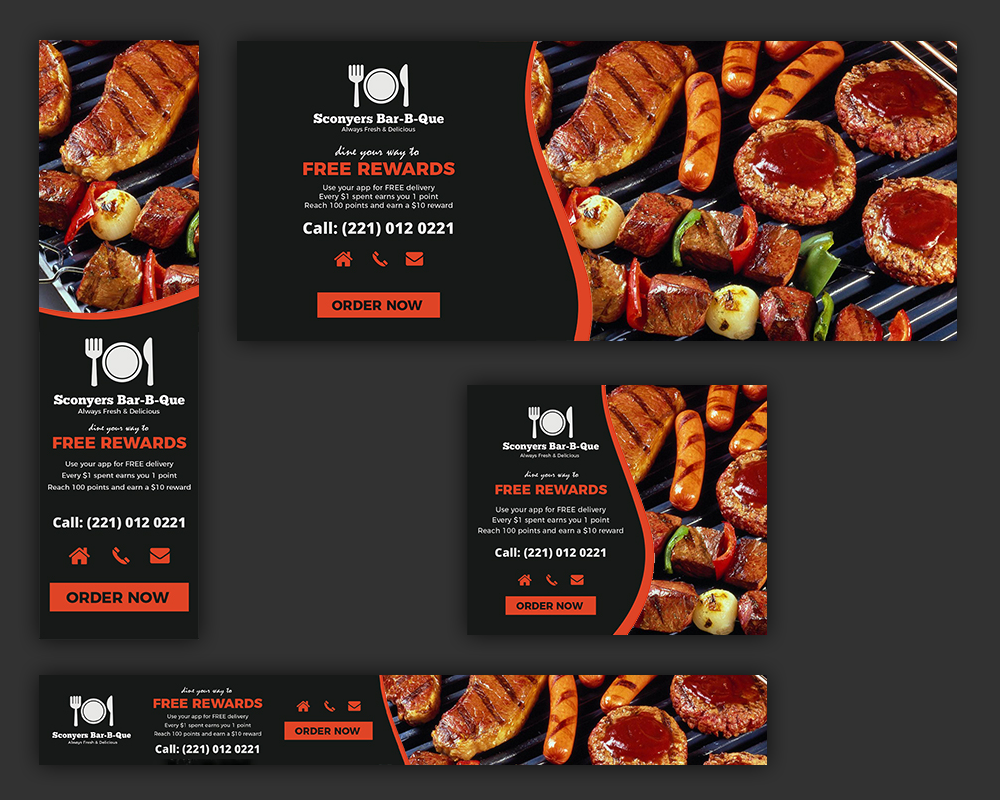 Web banners for barbecue restaurant